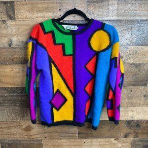 Rafaella Vintage 90s Geometric Shape Fuzzy Sweater